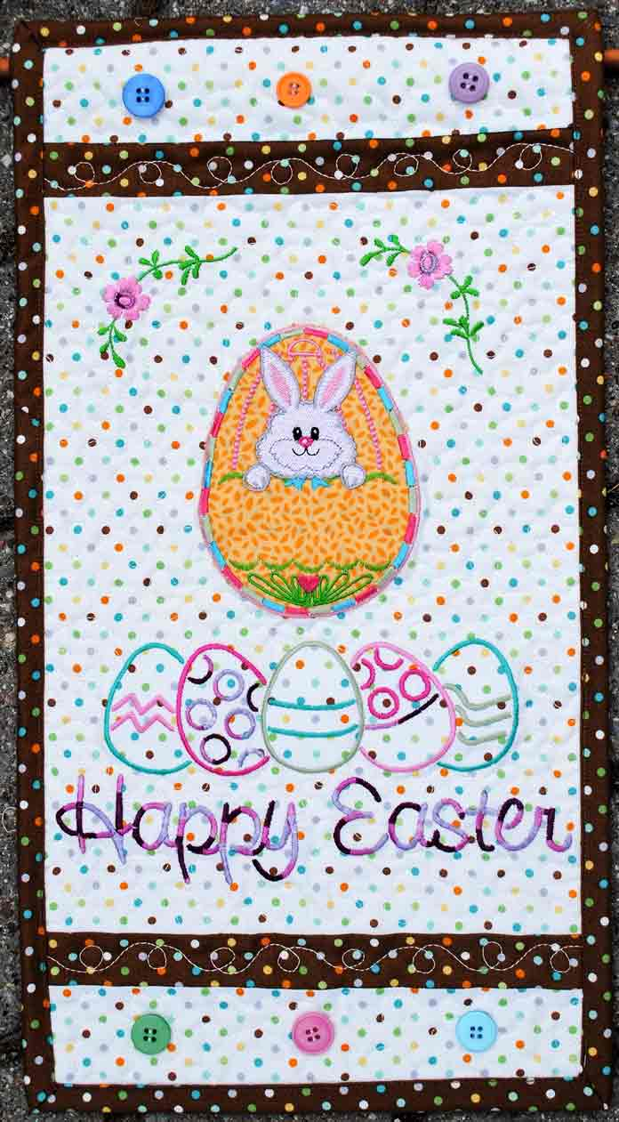 The completed Easter door banner, embroidered and quilted with THE Dream Machine 2 from Brother.
