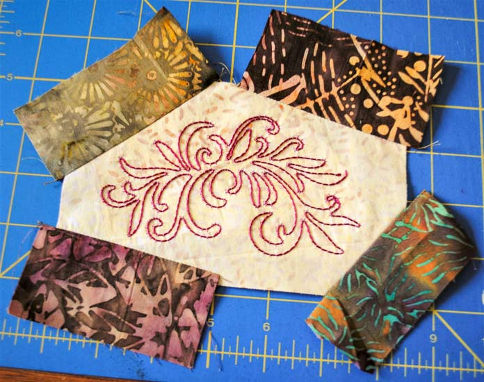 First four fabric strips