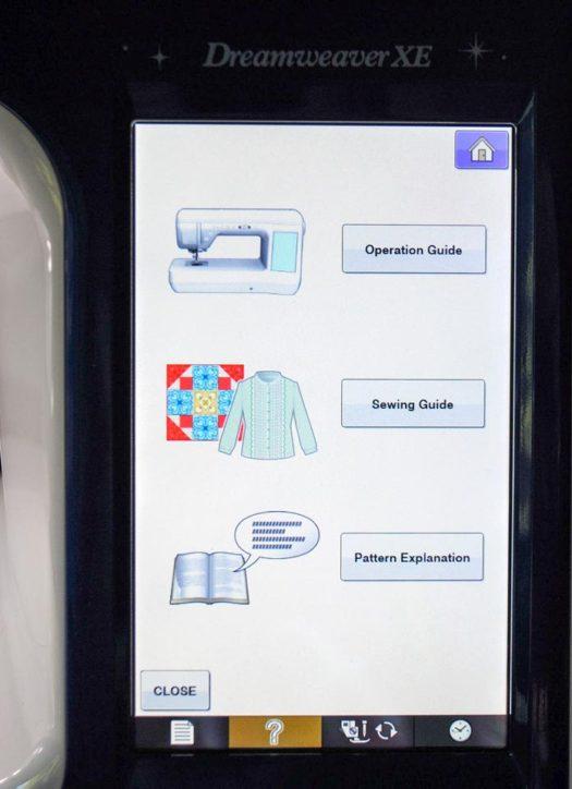 The sewing machine help screen