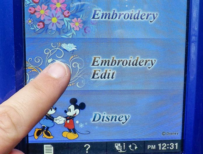 "Select ""Embroidery Edit"""
