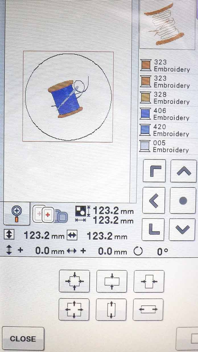 Here is the single stitch line after it has been enlarged on the LCD screen of the Brother Dreamweaver XE.