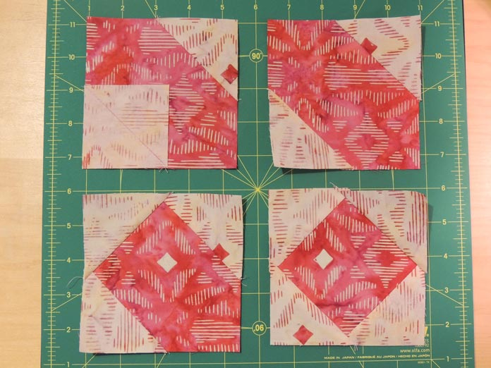 Square in a square quilt block steps