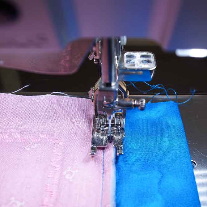 Sewing the stay stitch