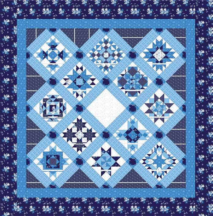 A blue and white quilt pattern design created using EQ8.