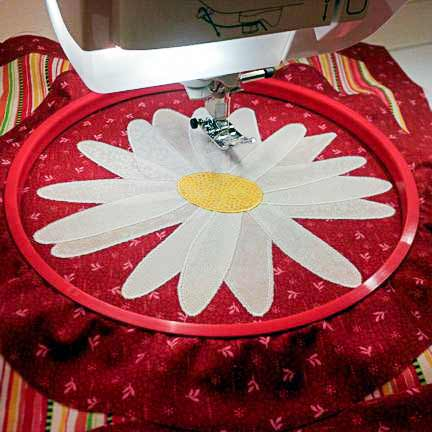 Using a hand embroidery hoop for satin stitching