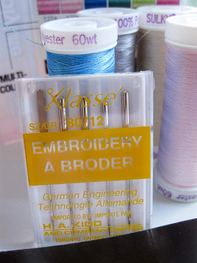 Machine embroidery needles are designed to handle machine embroidery thread. Use a new one with each project to avoid disappointing results. The thread has a wonderful sheen and comes in a rainbow of colors.