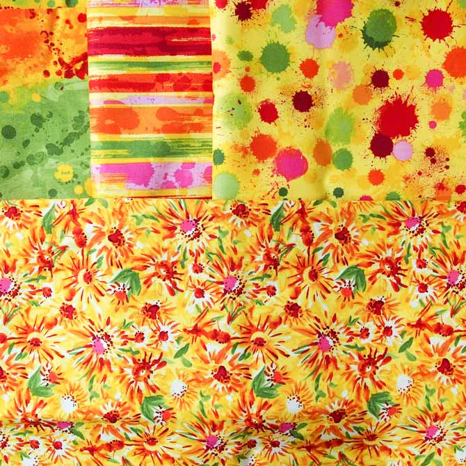 4 fabrics in yellow with red, green and pink splotches, flowers and stripes