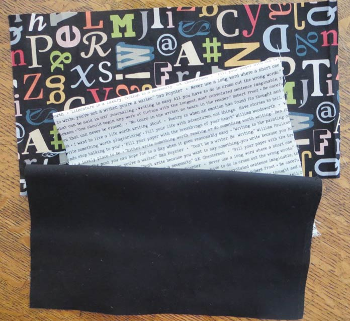 2 fabrics from the Letterpress collection plus black from the ColorWorks Premium Solids collection