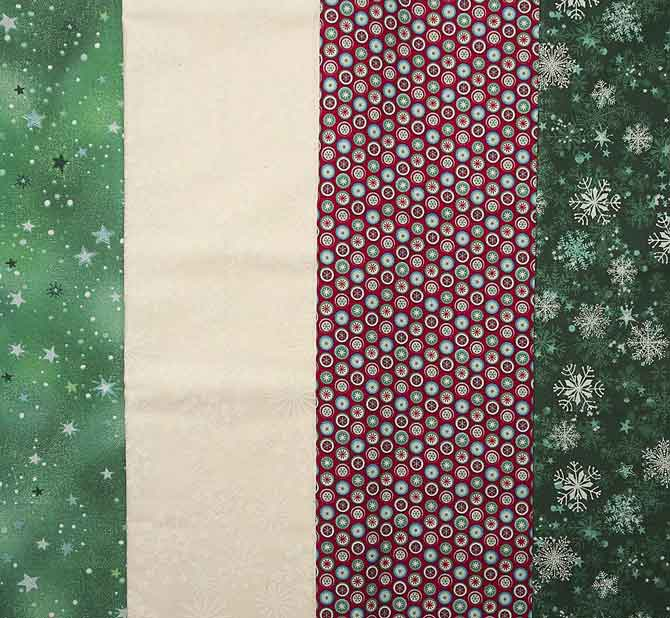 Fabrics for a holiday table runner