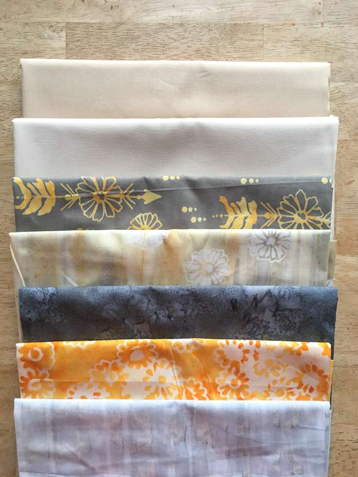 The Banyan Batiks Daisy Chain fabric selection for this Magical Mushrooms table runner