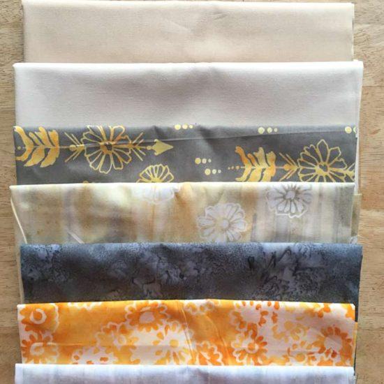 Banyan Batiks Daisy Chain fabric selection for this Magical Mushrooms table runner