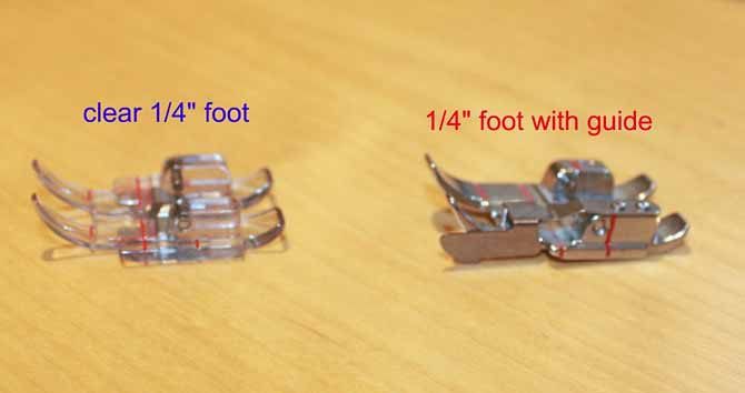 "Two of the five ¼"" feet available from PFAFF"