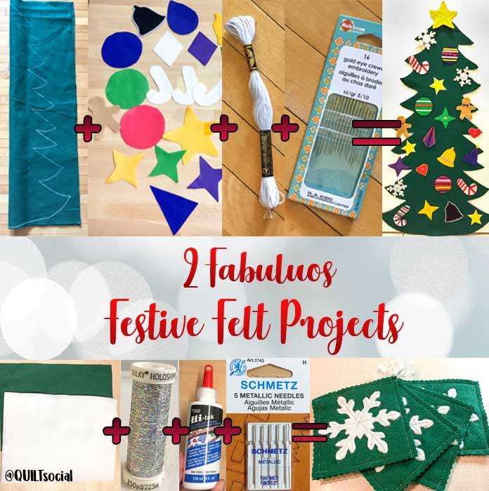 2 fabulous festive felt projects made using DMC Embroidery Floss, Kunin Rainbow ClassicFelt, PrestoFelt, Hi-tak Glue, Heirloom Quality Crewel Embroidery Needles, Sulky Holoshimmer