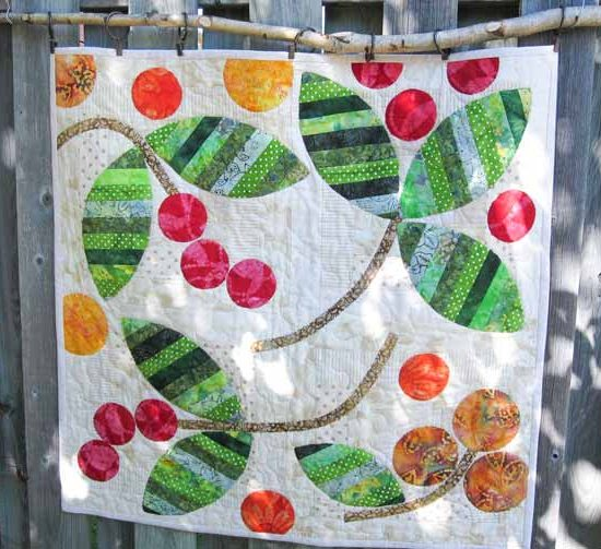 batiks and pieced leaves