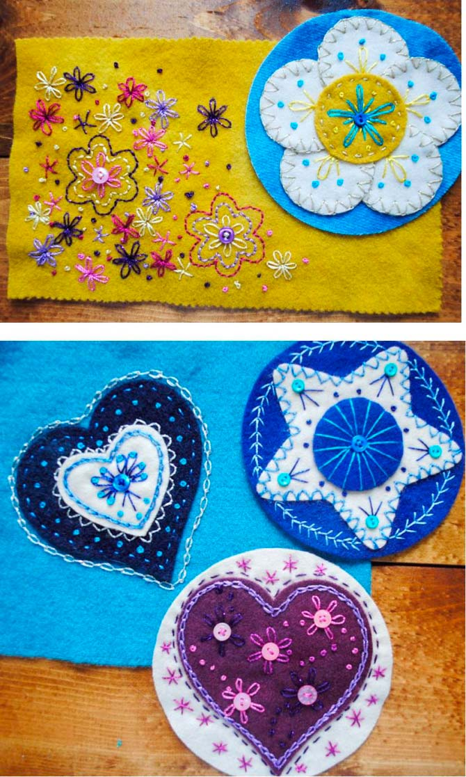 Finished embroidery projects using WonderFil threads
