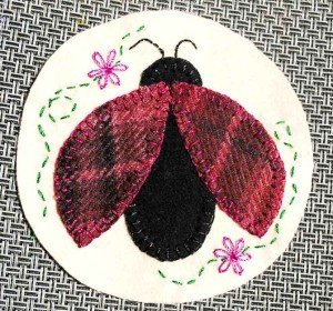Finished lady bug applique. Notice the sparkle and shine of the Razzle and Dazzle threads!