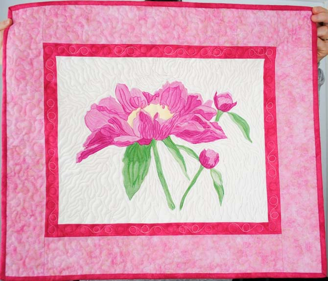Finished peony wall hanging
