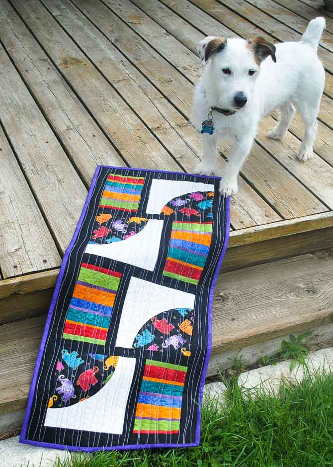 Finished table runner with Pugsley