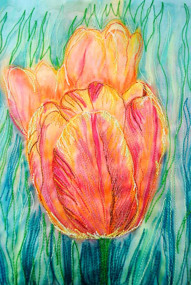 Finished thread painting on front of tulip