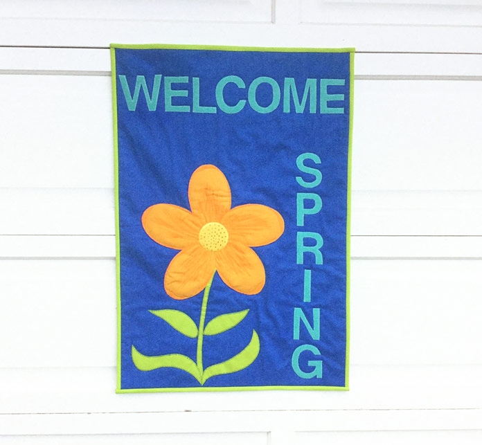 Finished Welcome Spring quilted banner
