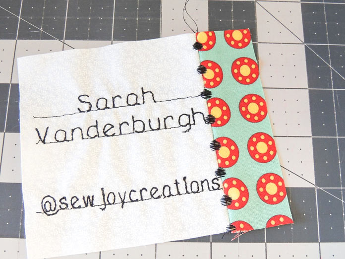 The front of the floating stitches are a fun addition to the project. Using the NEW PFAFF quilt expression 720 to make a quilter's badge.