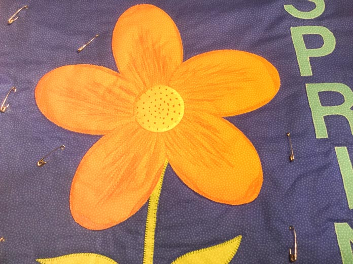 Flower with quilting detail added