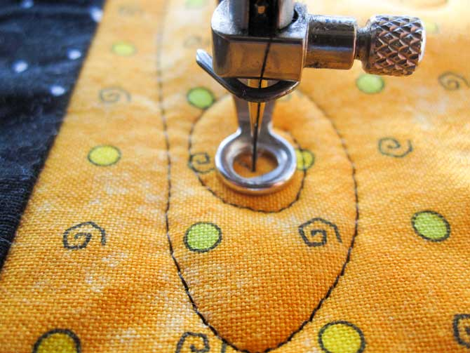 Once you've got the hang of the air current motif, you can bust loose on all areas of the quilt.
