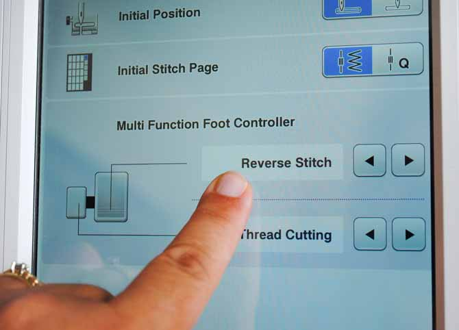 Settings for the multi function foot controller