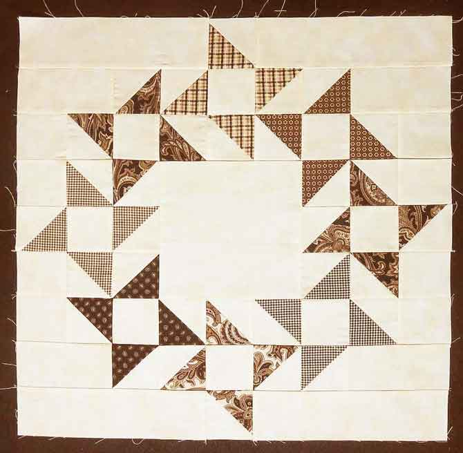 A variation of the Friendship Star quilt block