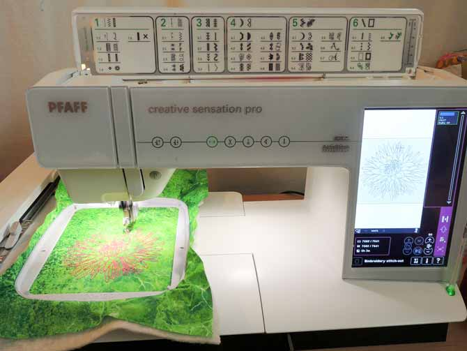 PFAFF creative sensation pro embroidering