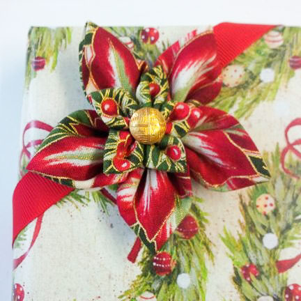 Fabric flower gift bow