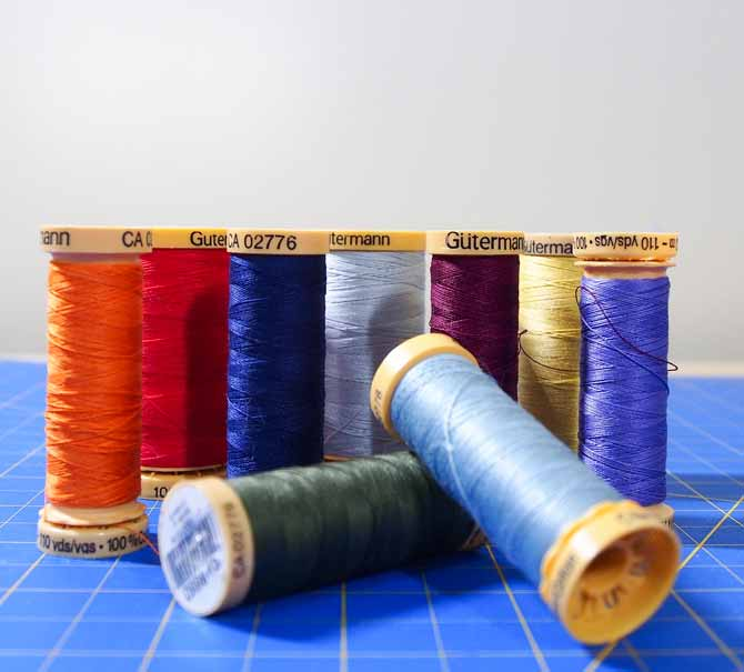 Variety of colors of Gutermann cotton threads