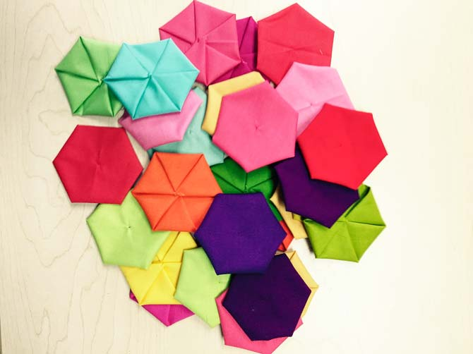 Fabric hexies for quilts.