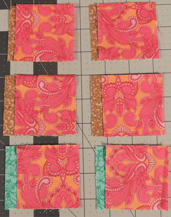 Sew together 6 sets of squares to make HSTs