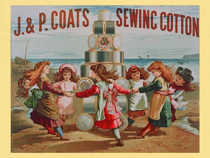 J & P Coats Sewing Cotton vintage label