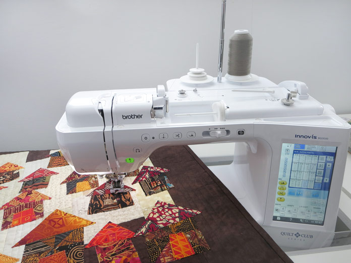 Raw edge applique quilt on the bed of a Brother Innov-ís BQ3050 sewing and quilting machine. Brother Innov-ís BQ3050 sewing and quilting machine, MuVit Digital Dual Feed Foot, SA195 MuVit Open-Toe Dual Feed Foot, Mary Ellen's Best Press, Banyan Batiks