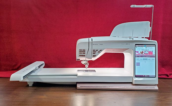 Husqvarna Viking DESIGNER EPIC 2 with the embroidery unit attached