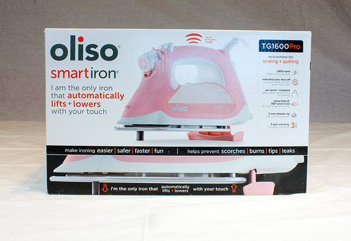 Image of the packaging for the Oliso Pro TG1600 Smart Iron