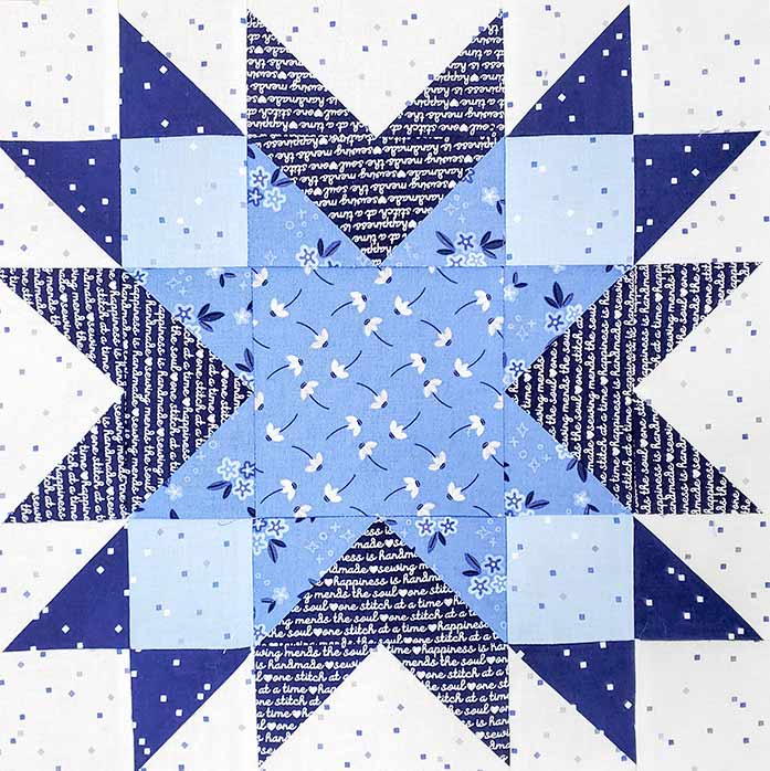 A blue and white quilt block