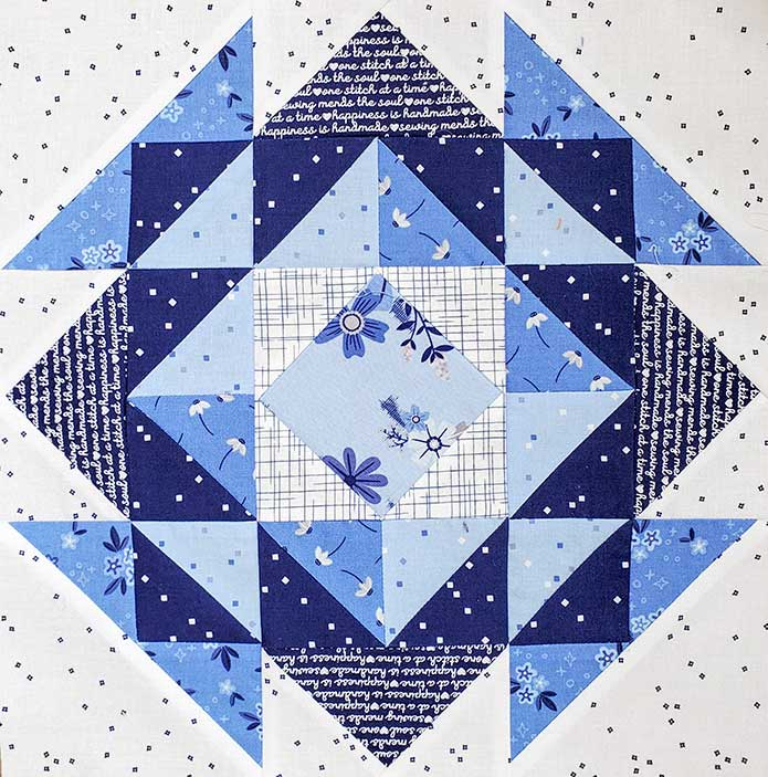 lue and white Block 3 with Blue Stitch fabric collection by Riley Blake Designs.