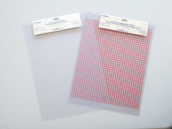 """UNIQUE quilting template sheets with and without gridlines. Using UNIQUE Quilt Template - 21 x 30cm [8¼"""" x 11¾""""], UNIQUE SEWING Quilt Template with Grid - 21 x 28.5cm [8¼"""" x 11""""], Gütermann threads, UNIQUE Dye Catcher and StitchnSew sheets."""