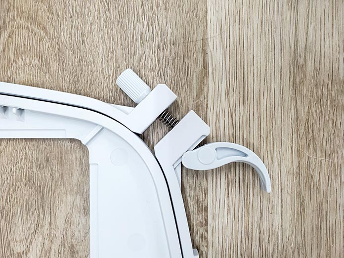 The Quick Release is open on the Husqvarna Viking Mega Quilters Hoop.