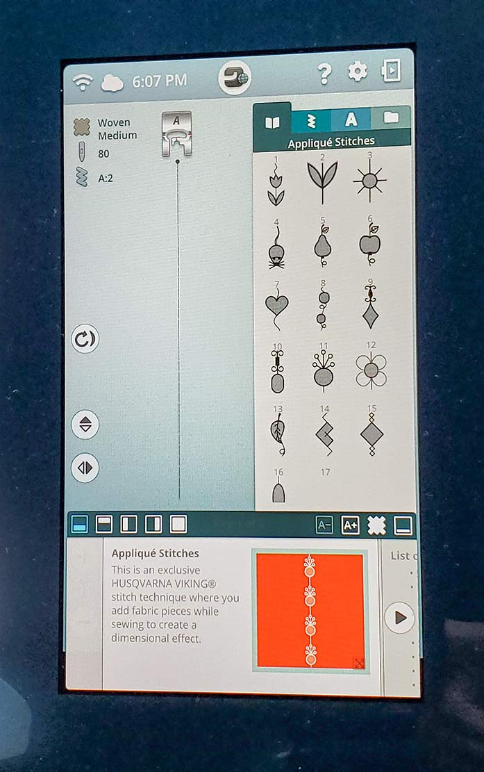 The Applique Stitches appear in a menu along with the tutorial on the Husqvarna Viking Designer Sapphire™ 85