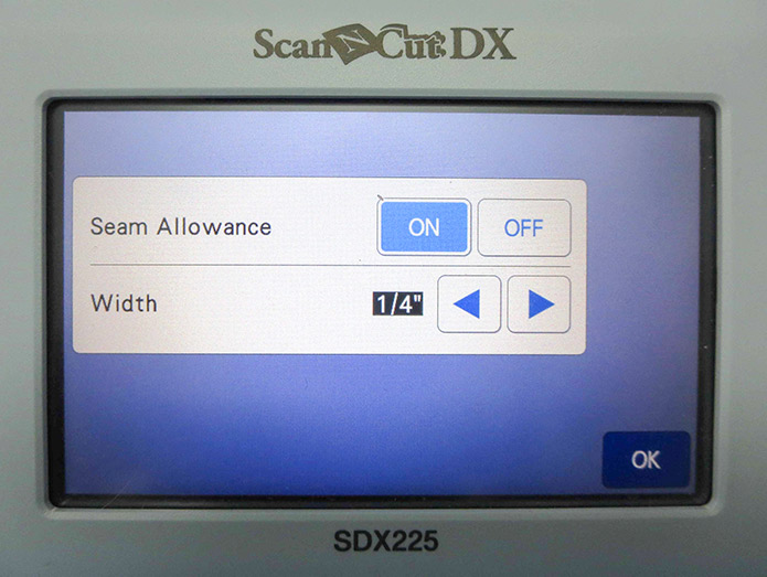 Seam allowance can be adjusted by using the arrow keys. Brother ScanNCut SDX225, Brother fabric mat, Brother blue erasable marking pen, Brother color pen set