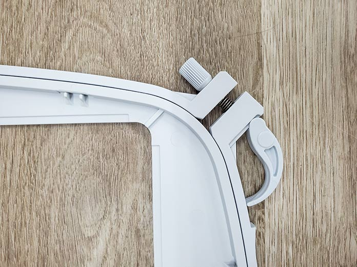The Quick Release is closed on the Husqvarna Viking Mega Quilters Hoop.