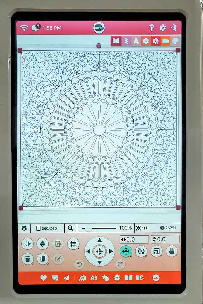 The mandala outline embroidery design loaded into the embroidery edit screen; HV Designer EPIC 2