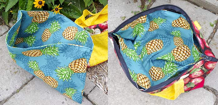 The left-hand picture shows the pineapple insert bag opened, sitting outside in the garden with the apple outside bag in the background. In the second picture, on the right, shows the bag opened with the pineapple insert inside. The pineapple fabric has a blue background with the pineapples facing various directions all over it