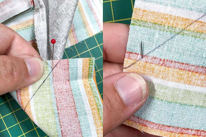 First image shows a pin going into the top fabric on the drawn line; second image shows the pin coming out of the back fabric on the drawn line.