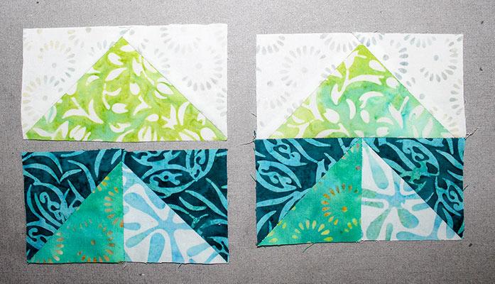 "Stitch a Step 5 unit to a Step 7 unit to make a 4½"" square."