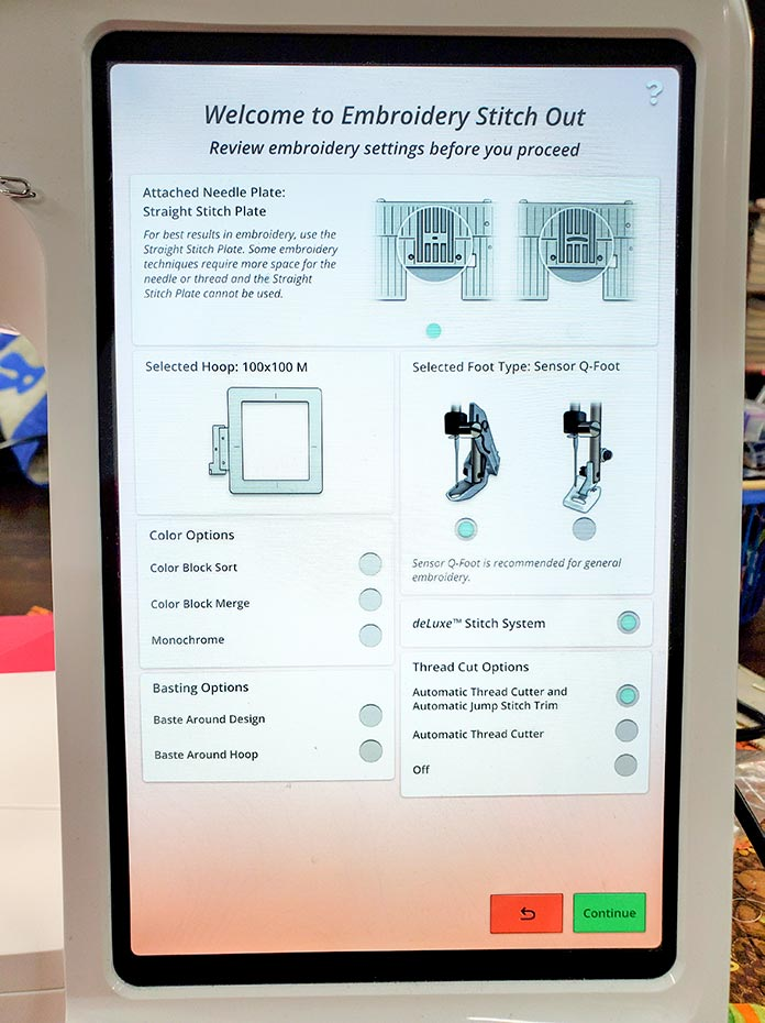 The Embroidery Stitch Out settings screen on the Husqvarna Viking DESIGNER EPIC 2